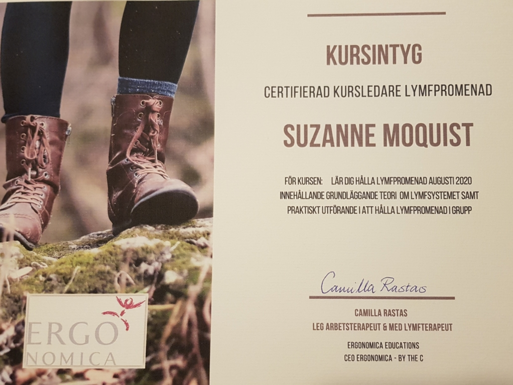 Suzanne Moquist är certifierad kursledare för lymfpromenad